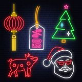 Set of Happy New Year 2019 neon sign with santa claus, pig, christmas tree, tag and Chinese lanterns. Vector. Neon sign for Merry Christmas and Happy New Year royalty free illustration