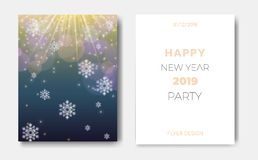Set of 2 Happy New Year night flyers banner with Christmas snowflakes,glowing stars,light flashes,highlight circles on royalty free illustration