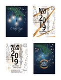 Set of 2019 Happy New Year Party Background Russian transcription Happy New Year. 2019 Happy New Year Party Background Russian transcription Happy New Year vector illustration