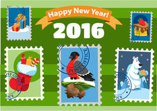Set of happy new year postage stamps Stock Photo