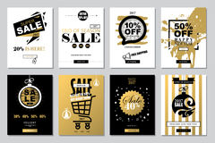 Set of 2017 Happy New Year Templates Sale Banners for Websites a. Nd Mobile Websites with black, white, gold colors Stock Photos