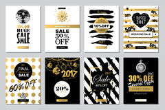 Set of 2017 Happy New Year Templates Sale Banners for Websites a. Nd Mobile Websites with black, white, gold colors Stock Images