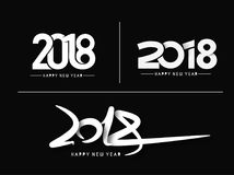 Set of Happy New Year 2018 Text Design Patter Royalty Free Stock Image