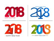 Set of Happy New Year 2018 Text Design Patter, Vector illustrati Stock Photo