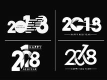 Set of Happy New Year 2018 Text Design Patter, Vector illustrati Royalty Free Stock Images