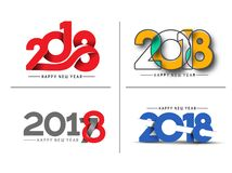 Set of Happy New Year 2018 Text Design Pattern Stock Images