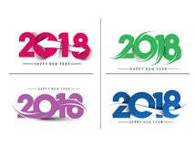 Set of Happy New Year 2018 Text Design Pattern. Vector illustration Royalty Free Stock Image