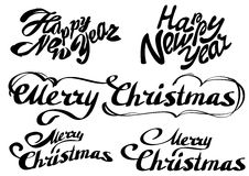 Set Happy new year text. Merry Christmas Stock Images