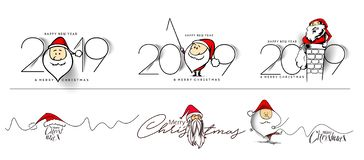 Set of Happy New Year 2019 Text with Santa Christmas Design vector illustration