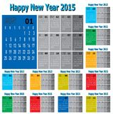 Set of Happy New Year 2015 Vector. Set of Vector of Happy New Year 2015 in Colorful and Two Tone Stock Photography