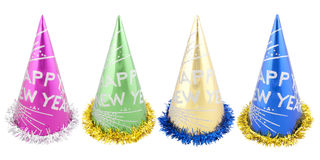 Set of Happy New Years party hats Stock Photos
