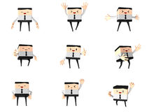 Set of happy office and business man, 3d cute cart. Oon, PNG transparent background Royalty Free Stock Image