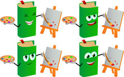 Set of happy painter book Royalty Free Stock Photography
