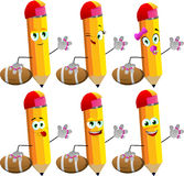Set of happy pencils as American football player Royalty Free Stock Photography
