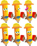 Set of happy pencils as bricklayer with brick and trowel Royalty Free Stock Photo