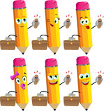 Set of happy pencils as businessman with phone Royalty Free Stock Photography
