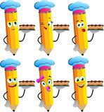 Set of happy pencils as confectioner Stock Photography