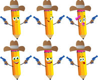 Set of happy pencils as cowboy with gun Royalty Free Stock Images