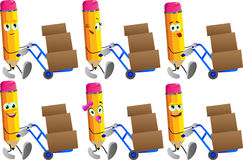 Set of happy pencils as delivery man Royalty Free Stock Photography