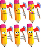 Set of happy pencils with an axe Royalty Free Stock Photography