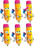 Set of happy pencils with an axe Stock Photography