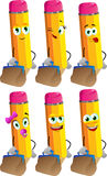 Set of happy pencils with bag Royalty Free Stock Photos