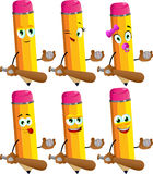Set of happy pencils baseball player Stock Photography