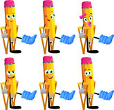Set of happy pencils with a broken leg walking on crutches Stock Photos