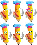 Set of happy pencils chef holding hot dog with attitude Royalty Free Stock Images