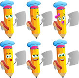 Set of happy pencils chef holding hot dog and blank paper Stock Photos