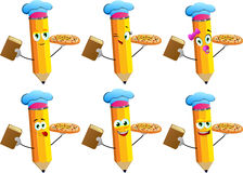 Set of happy pencils chef with pizza and a book Stock Photos