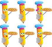 Set of happy pencils chef with pizza holding a stop sign Royalty Free Stock Photo
