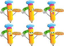 Set of happy pencils chef with pizza and money Royalty Free Stock Images
