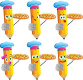 Set of happy pencils chef with pizza pointing at viewer Royalty Free Stock Photos