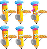 Set of happy pencils chef with pizza and tablet Stock Photos