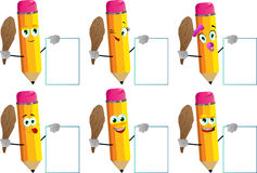 Set of happy pencils with a club and big blank board Stock Photo