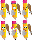 Set of happy pencils with a club and showing stop sign Royalty Free Stock Image