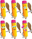 Set of happy pencils with a club Stock Photography
