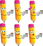 Set of happy pencils with a cup of coffee Royalty Free Stock Photos
