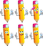 Set of happy pencils dentist holding teeth with attitude Stock Photos
