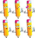 Set of happy pencils dentist holding teeth with thumb up Royalty Free Stock Photography