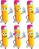 Set of happy pencils dentist holding teeth Royalty Free Stock Photography