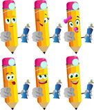 Set of happy pencils dentist holding toothpaste and pointing at viewer Royalty Free Stock Photo