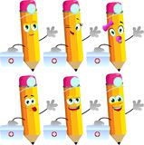 Set of happy pencils doctor with first aid kit Royalty Free Stock Photo