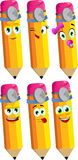 Set of happy pencils doctor Stock Photography