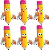 Set of happy pencils eating meat and bread Royalty Free Stock Photo