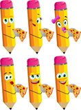 Set of happy pencils eating pizza Royalty Free Stock Images