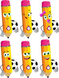 Set of happy pencils with football or soccer ball Stock Photo