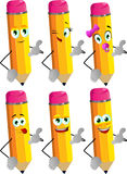 Set of happy pencils gesturing a call me sign Royalty Free Stock Photos