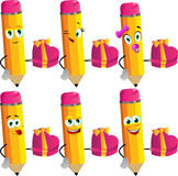 Set of happy pencils with gift for Valentines Day Royalty Free Stock Images